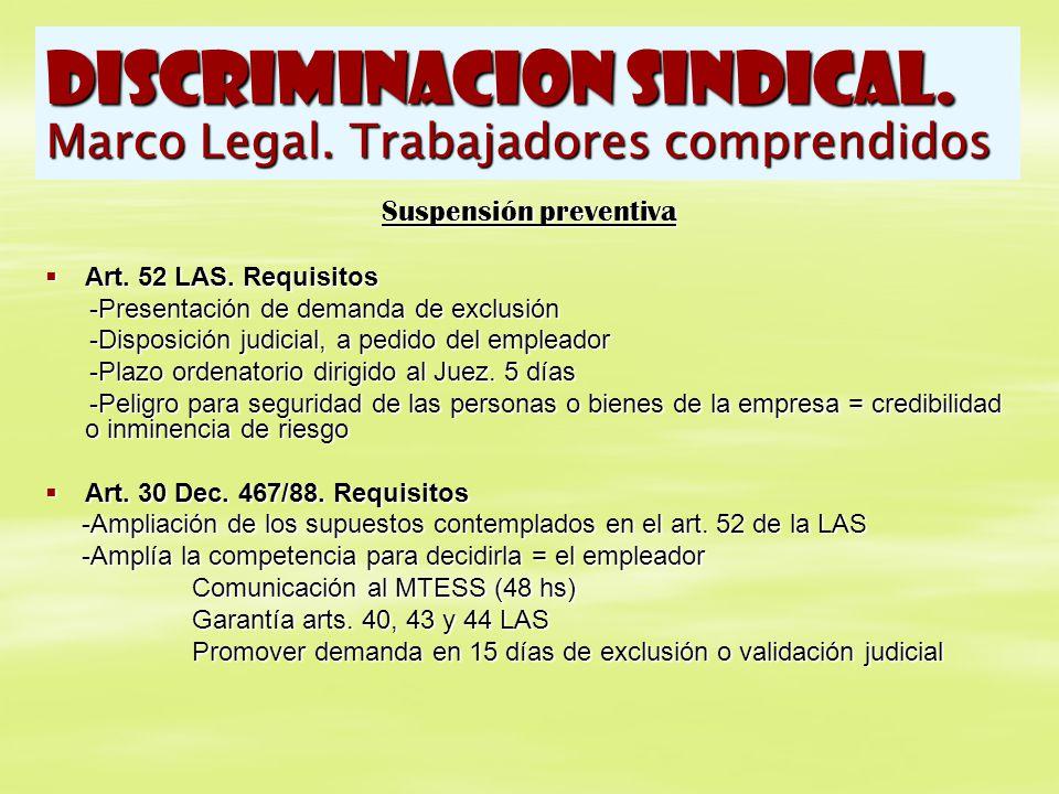 DISCRIMINACION SINDICAL. Marco Legal. Trabajadores comprendidos Suspensión preventiva Art. 52 LAS. Requisitos Art. 52 LAS. Requisitos -Presentación de