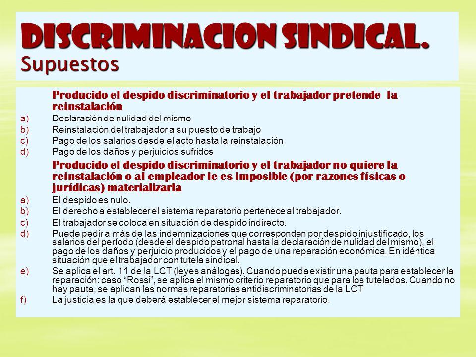 DISCRIMINACION SINDICAL. Supuestos Producido el despido discriminatorio y el trabajador pretende la reinstalación a)Declaración de nulidad del mismo b