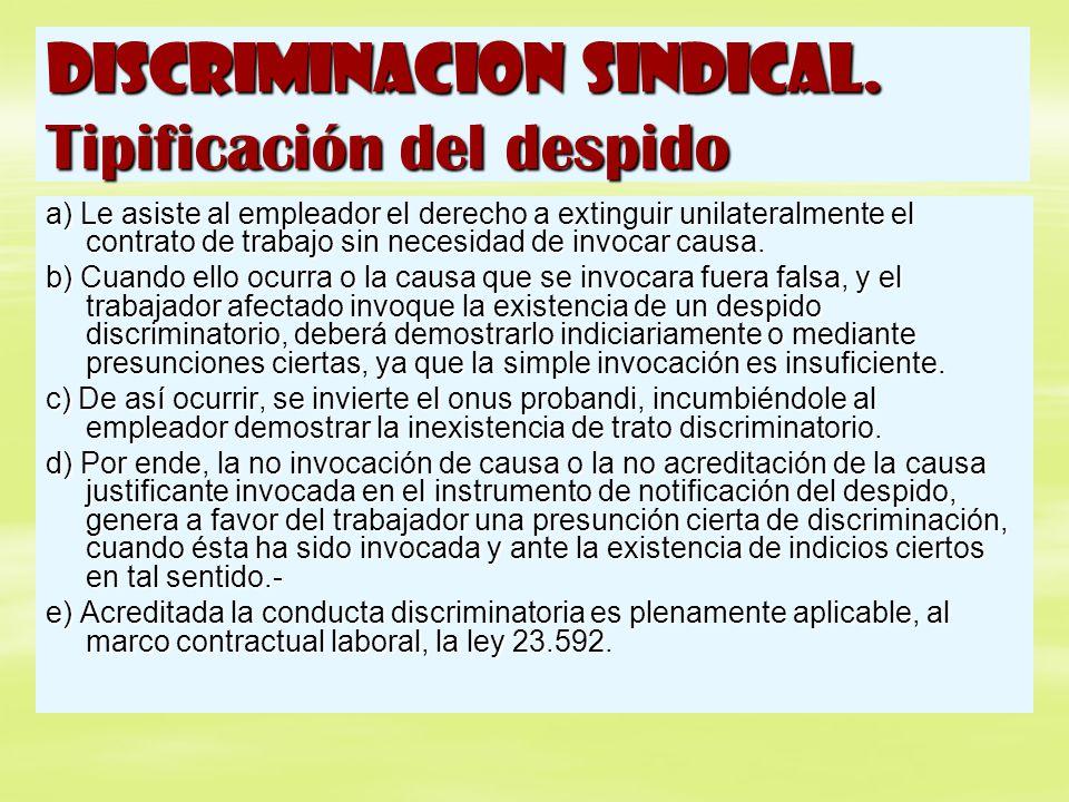 DISCRIMINACION SINDICAL. Tipificación del despido a) Le asiste al empleador el derecho a extinguir unilateralmente el contrato de trabajo sin necesida
