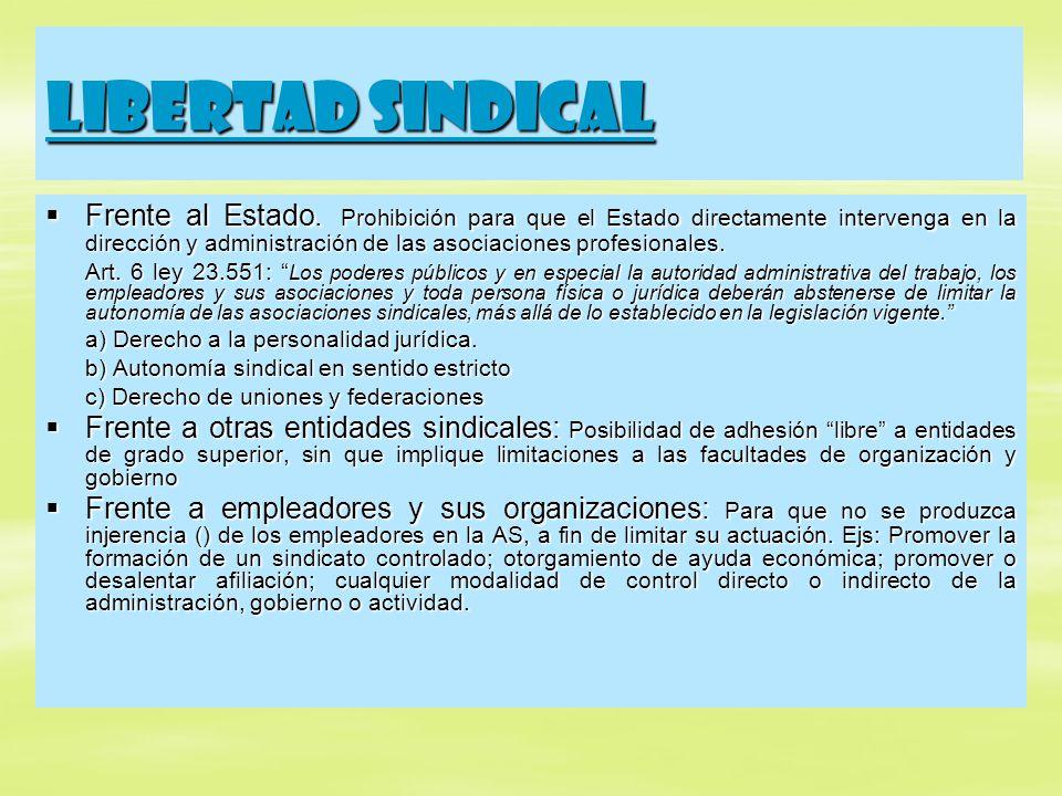 Libertad sindical Frente al Estado. Prohibición para que el Estado directamente intervenga en la dirección y administración de las asociaciones profes