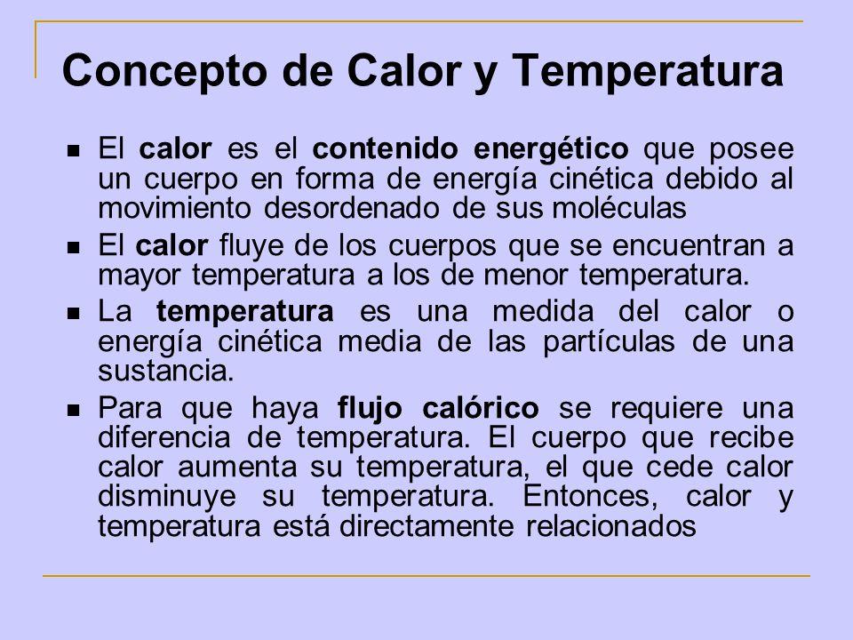 Concepto de Calor y Temperatura El calor es el contenido energético que posee un cuerpo en forma de energía cinética debido al movimiento desordenado