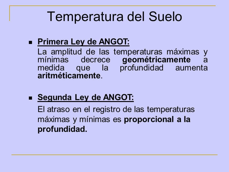 Temperatura del Suelo Primera Ley de ANGOT: La amplitud de las temperaturas máximas y mínimas decrece geométricamente a medida que la profundidad aume
