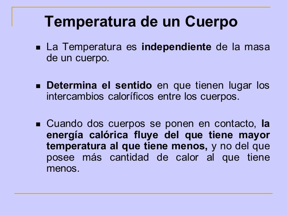 La Temperatura es independiente de la masa de un cuerpo. Determina el sentido en que tienen lugar los intercambios caloríficos entre los cuerpos. Cuan