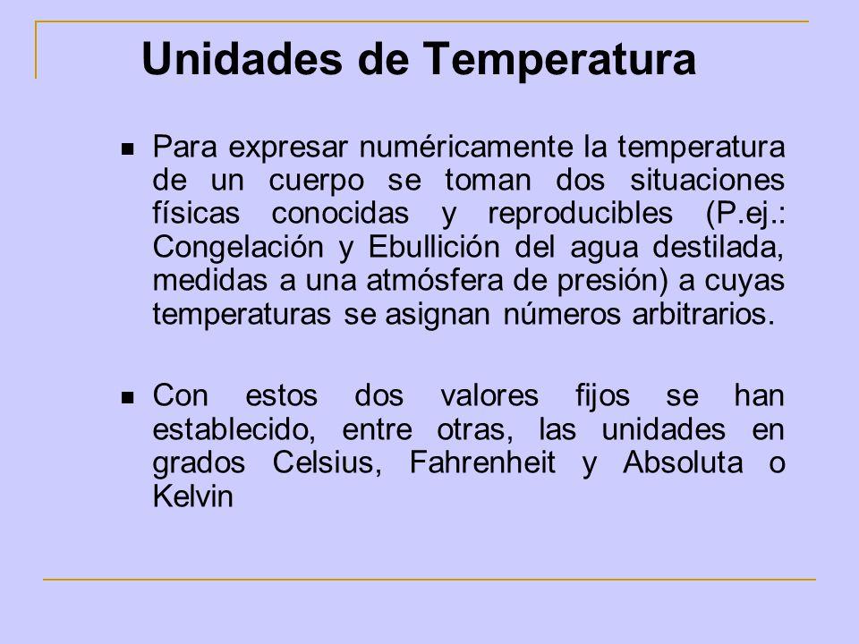 Unidades de Temperatura Para expresar numéricamente la temperatura de un cuerpo se toman dos situaciones físicas conocidas y reproducibles (P.ej.: Con