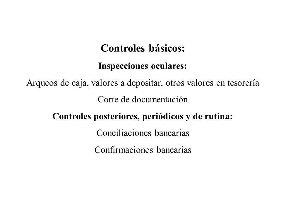 Controles básicos: Inspecciones oculares: Arqueos de caja, valores a depositar, otros valores en tesorería Corte de documentación Controles posteriore