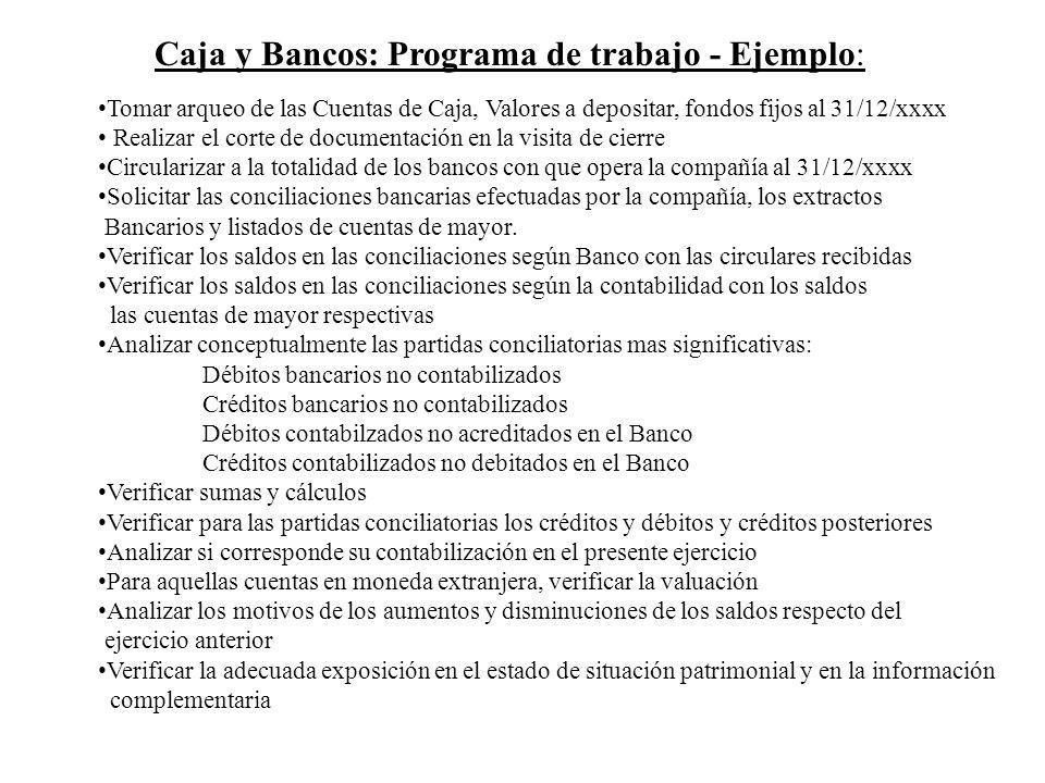 Caja y Bancos: Programa de trabajo - Ejemplo: Tomar arqueo de las Cuentas de Caja, Valores a depositar, fondos fijos al 31/12/xxxx Realizar el corte d