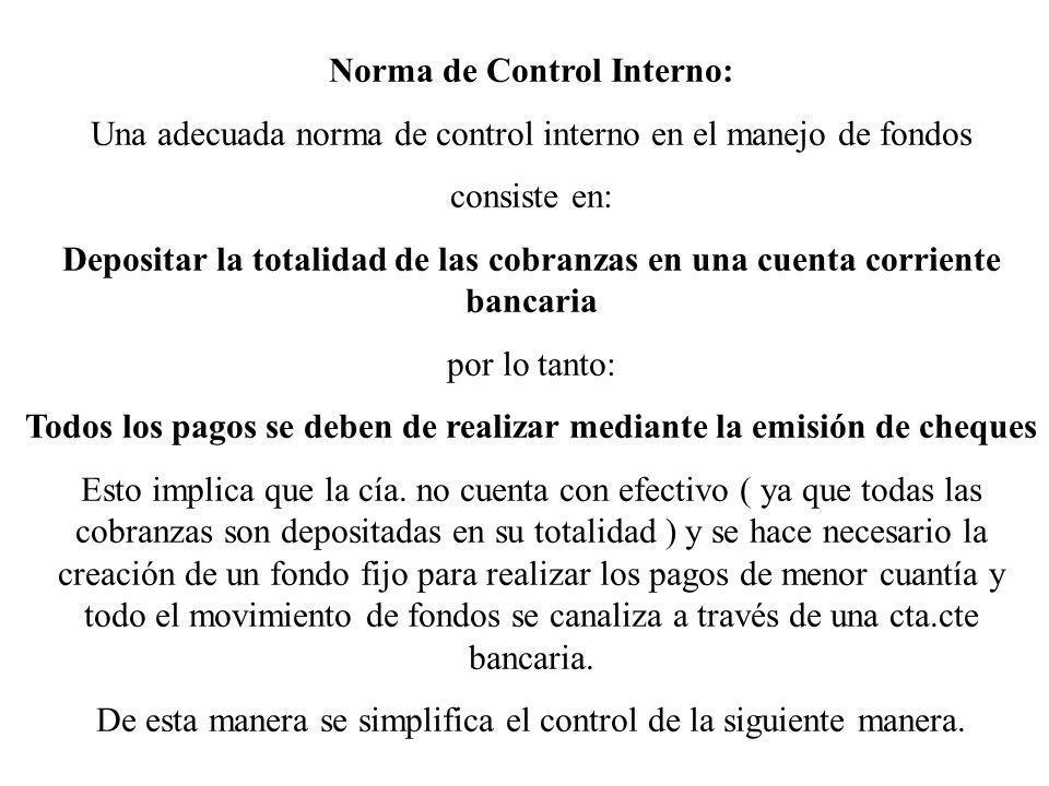 Norma de Control Interno: Una adecuada norma de control interno en el manejo de fondos consiste en: Depositar la totalidad de las cobranzas en una cue