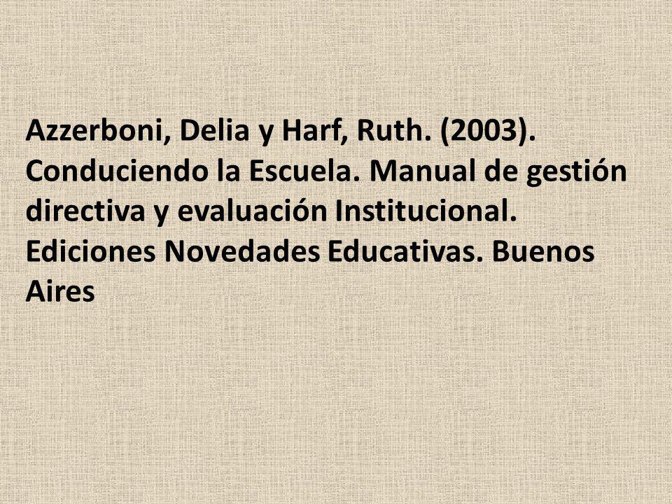 Azzerboni, Delia y Harf, Ruth. (2003). Conduciendo la Escuela. Manual de gestión directiva y evaluación Institucional. Ediciones Novedades Educativas.