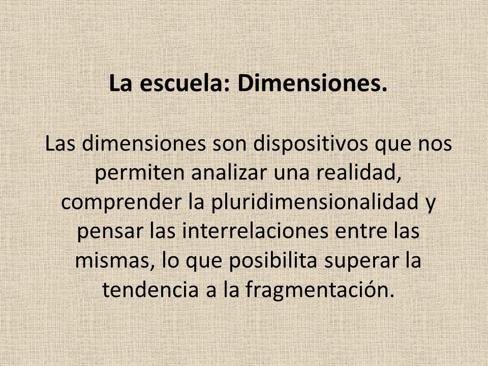 La escuela: Dimensiones. Las dimensiones son dispositivos que nos permiten analizar una realidad, comprender la pluridimensionalidad y pensar las inte