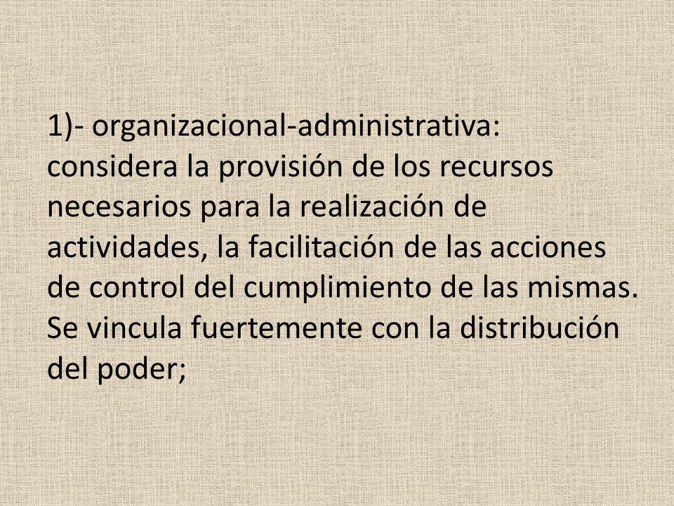 1)- organizacional-administrativa: considera la provisión de los recursos necesarios para la realización de actividades, la facilitación de las acciones de control del cumplimiento de las mismas.