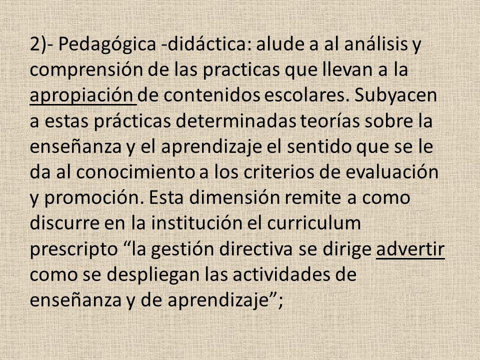 2)- Pedagógica -didáctica: alude a al análisis y comprensión de las practicas que llevan a la apropiación de contenidos escolares. Subyacen a estas pr