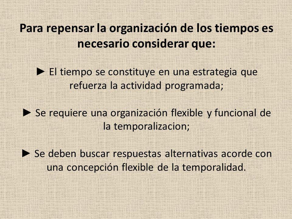 Para repensar la organización de los tiempos es necesario considerar que: El tiempo se constituye en una estrategia que refuerza la actividad programa