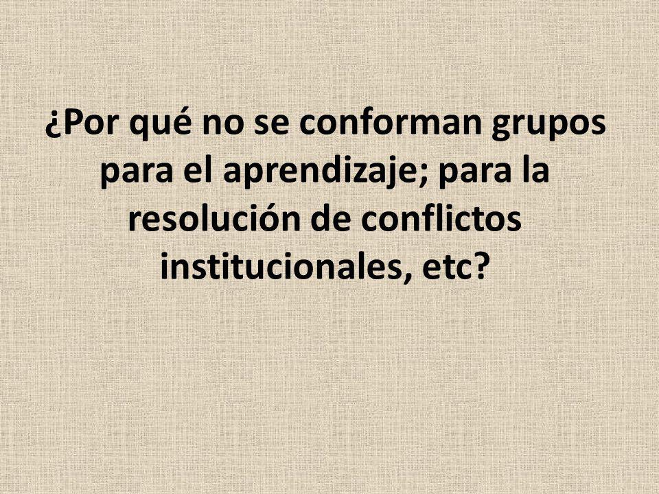 ¿Por qué no se conforman grupos para el aprendizaje; para la resolución de conflictos institucionales, etc?