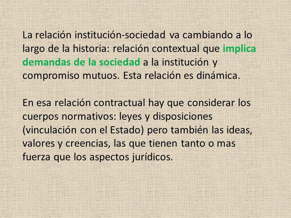 La relación institución-sociedad va cambiando a lo largo de la historia: relación contextual que implica demandas de la sociedad a la institución y co
