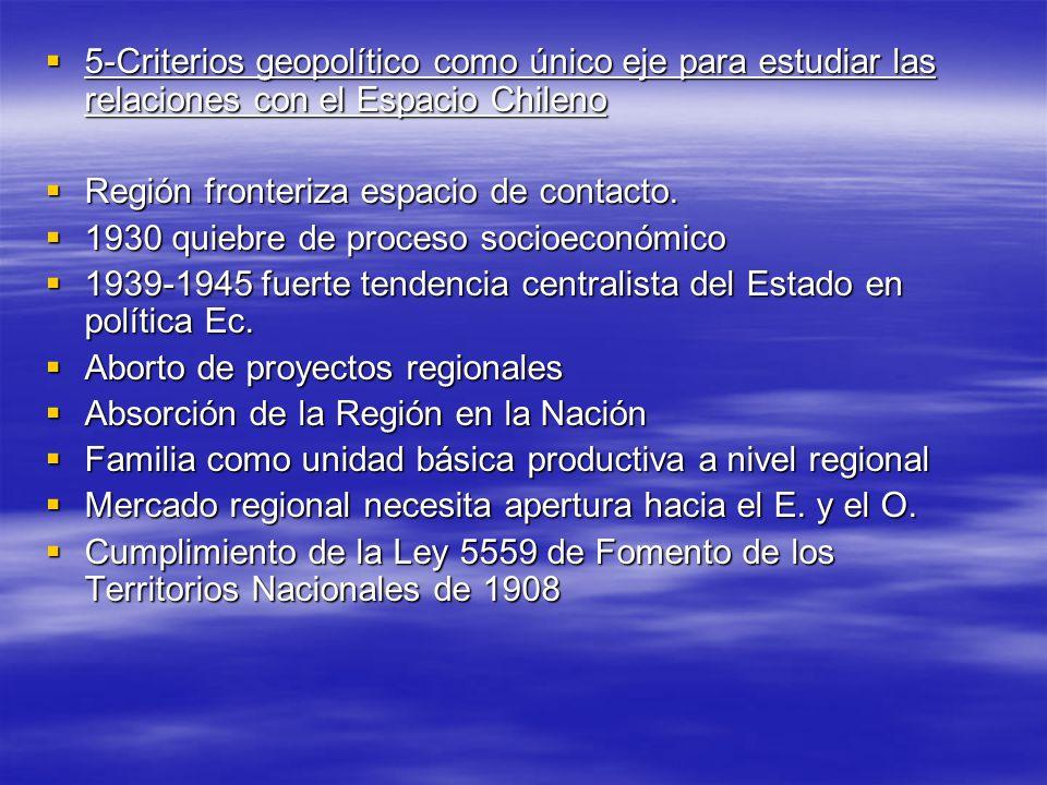5-Criterios geopolítico como único eje para estudiar las relaciones con el Espacio Chileno 5-Criterios geopolítico como único eje para estudiar las relaciones con el Espacio Chileno Región fronteriza espacio de contacto.
