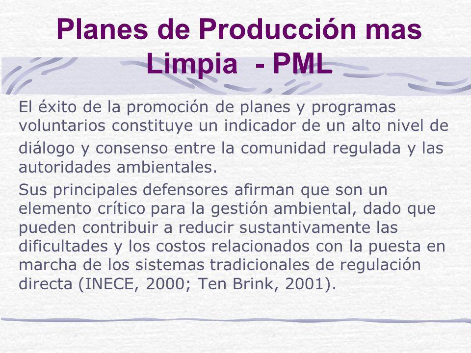 Planes de Producción mas Limpia - PML El éxito de la promoción de planes y programas voluntarios constituye un indicador de un alto nivel de diálogo y consenso entre la comunidad regulada y las autoridades ambientales.