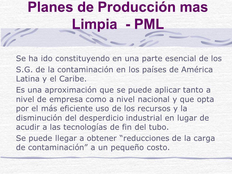 Planes de Producción mas Limpia - PML Se ha ido constituyendo en una parte esencial de los S.G.