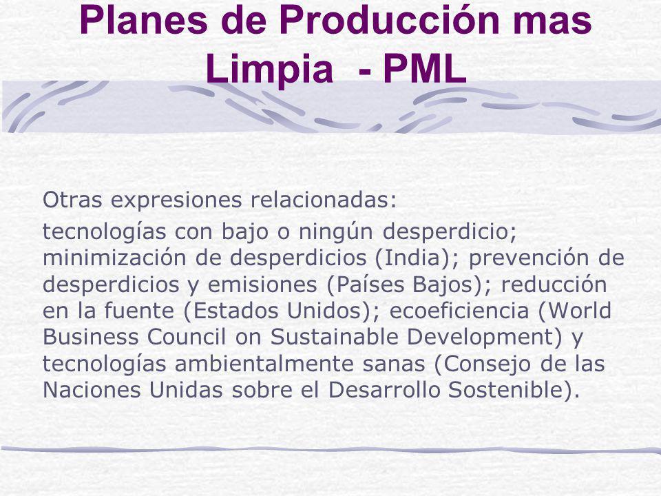 Planes de Producción mas Limpia - PML Algunos países de la región se han iniciado ambiciosos planes de PL mediante la modalidad de convenios voluntarios o acuerdos suscritos entre el gobierno y el sector productivo.