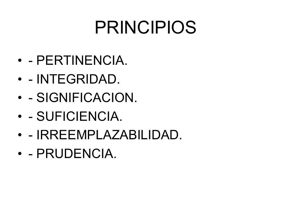 PRINCIPIOS - PERTINENCIA. - INTEGRIDAD. - SIGNIFICACION. - SUFICIENCIA. - IRREEMPLAZABILIDAD. - PRUDENCIA.