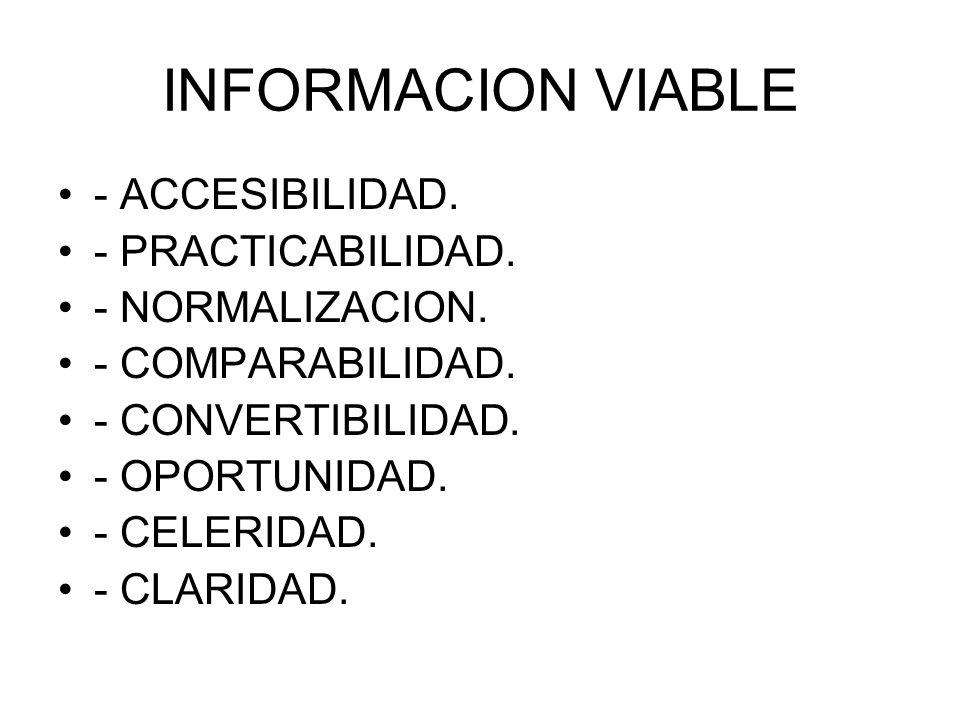 INFORMACION VIABLE - ACCESIBILIDAD. - PRACTICABILIDAD. - NORMALIZACION. - COMPARABILIDAD. - CONVERTIBILIDAD. - OPORTUNIDAD. - CELERIDAD. - CLARIDAD.