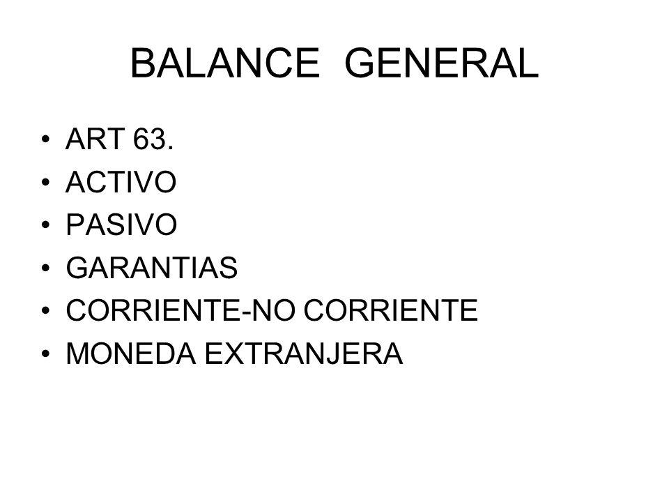 BALANCE GENERAL ART 63. ACTIVO PASIVO GARANTIAS CORRIENTE-NO CORRIENTE MONEDA EXTRANJERA