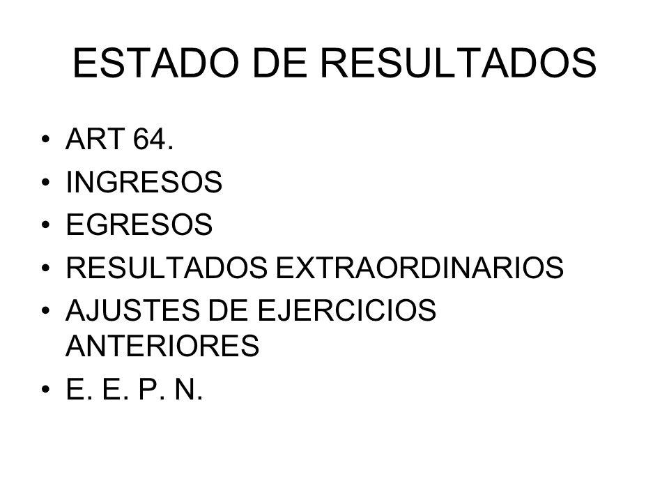 ESTADO DE RESULTADOS ART 64. INGRESOS EGRESOS RESULTADOS EXTRAORDINARIOS AJUSTES DE EJERCICIOS ANTERIORES E. E. P. N.