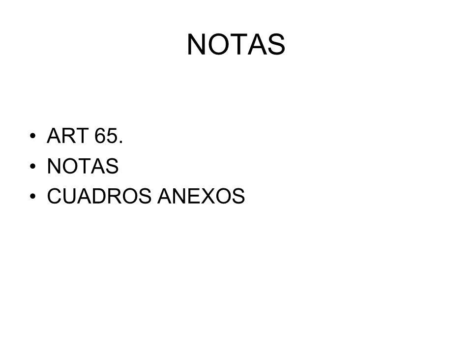 NOTAS ART 65. NOTAS CUADROS ANEXOS
