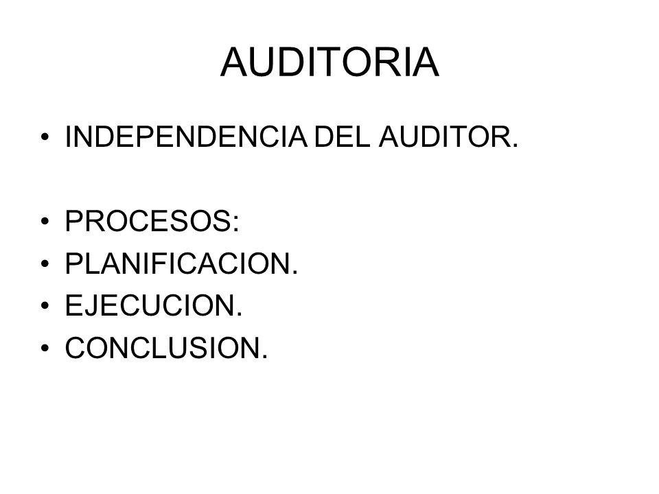 AUDITORIA INDEPENDENCIA DEL AUDITOR. PROCESOS: PLANIFICACION. EJECUCION. CONCLUSION.