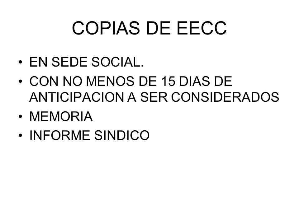 COPIAS DE EECC EN SEDE SOCIAL. CON NO MENOS DE 15 DIAS DE ANTICIPACION A SER CONSIDERADOS MEMORIA INFORME SINDICO