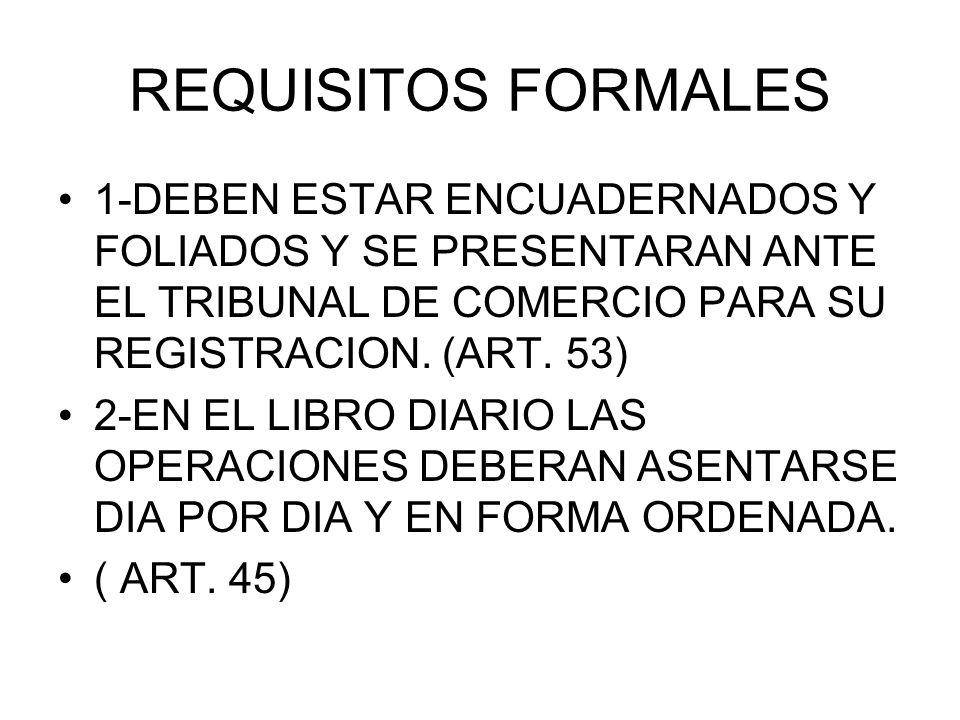 REQUISITOS FORMALES 1-DEBEN ESTAR ENCUADERNADOS Y FOLIADOS Y SE PRESENTARAN ANTE EL TRIBUNAL DE COMERCIO PARA SU REGISTRACION. (ART. 53) 2-EN EL LIBRO
