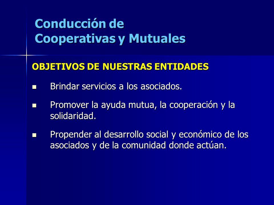 Conducción de Cooperativas y Mutuales OBJETIVOS DE NUESTRAS ENTIDADES Brindar servicios a los asociados. Brindar servicios a los asociados. Promover l