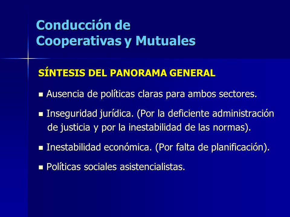 Conducción de Cooperativas y Mutuales SÍNTESIS DEL PANORAMA GENERAL Ausencia de políticas claras para ambos sectores. Ausencia de políticas claras par