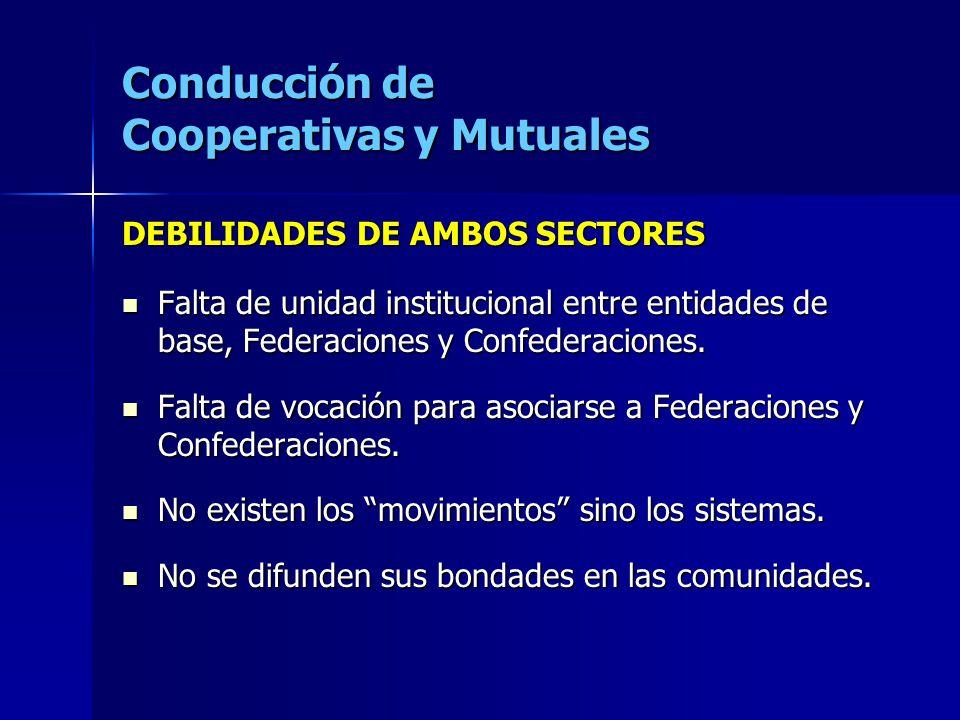 Conducción de Cooperativas y Mutuales DEBILIDADES DE AMBOS SECTORES Falta de unidad institucional entre entidades de base, Federaciones y Confederacio
