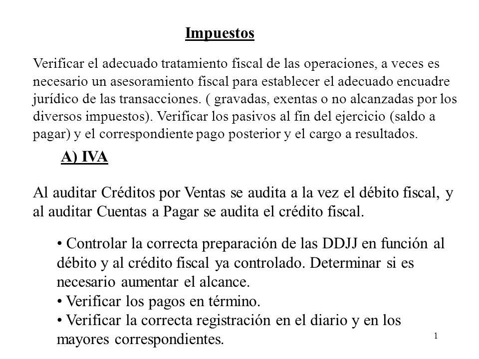 1 Impuestos A) IVA Al auditar Créditos por Ventas se audita a la vez el débito fiscal, y al auditar Cuentas a Pagar se audita el crédito fiscal. Contr