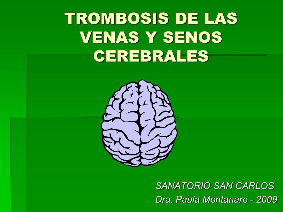 Tiempo transcurrido desde el inicio de los sìntomas de los sìntomas Hasta el ingreso hospitalario: Hasta el ingreso hospitalario: 4 dìas (2-20) 4 dìas (2-20) Hasta el diagnòstico: Hasta el diagnòstico: 7 dìas (4-56) 7 dìas (4-56) International Study on Cerebral Vein and Dural Sinus Thrombosis (ISCVT).