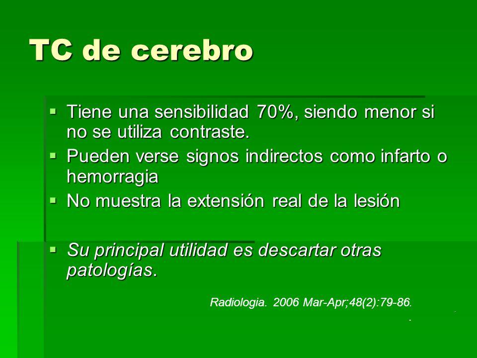 TC de cerebro Tiene una sensibilidad 70%, siendo menor si no se utiliza contraste. Tiene una sensibilidad 70%, siendo menor si no se utiliza contraste