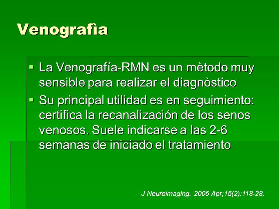 Venografìa La Venografía-RMN es un mètodo muy sensible para realizar el diagnòstico La Venografía-RMN es un mètodo muy sensible para realizar el diagn
