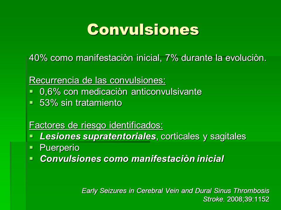 Convulsiones 40% como manifestaciòn inicial, 7% durante la evoluciòn. Recurrencia de las convulsiones: 0,6% con medicaciòn anticonvulsivante 0,6% con
