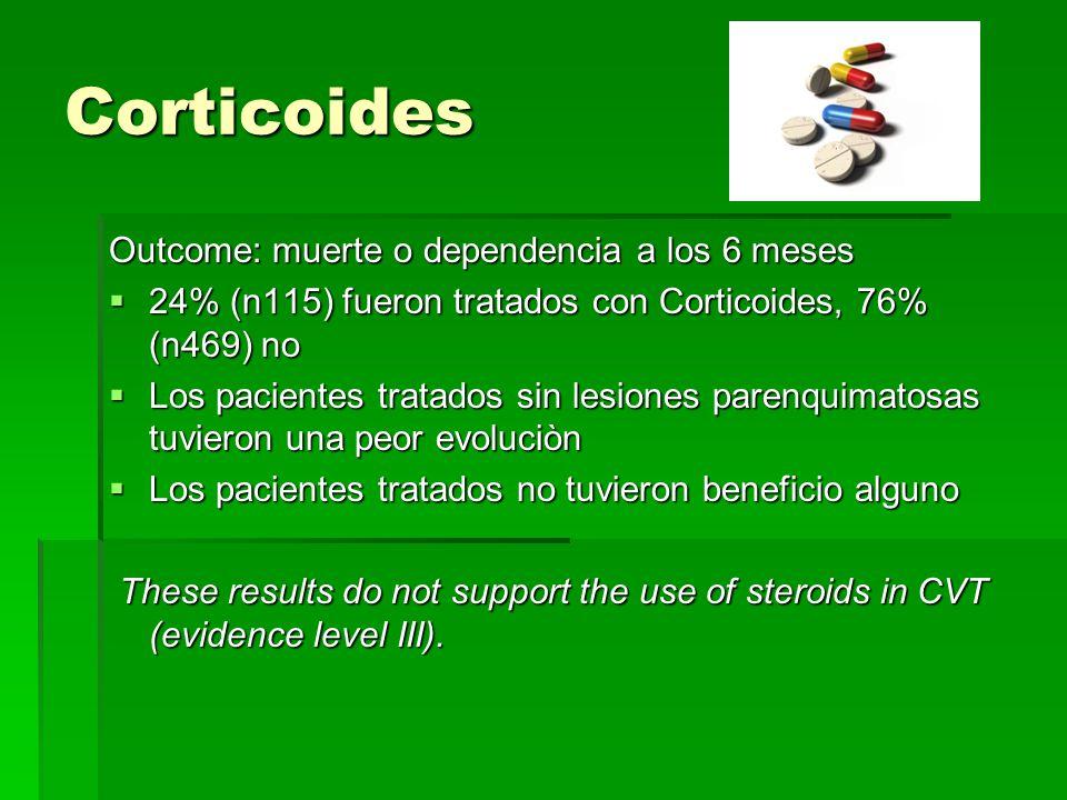 Corticoides Outcome: muerte o dependencia a los 6 meses 24% (n115) fueron tratados con Corticoides, 76% (n469) no 24% (n115) fueron tratados con Corti