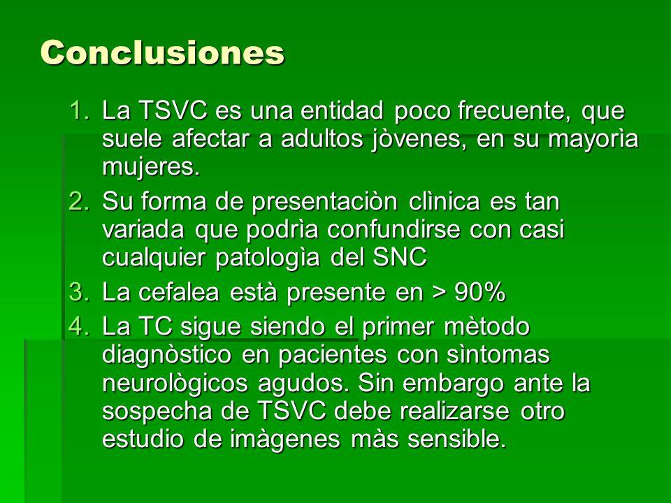 Conclusiones 1.La TSVC es una entidad poco frecuente, que suele afectar a adultos jòvenes, en su mayorìa mujeres. 2.Su forma de presentaciòn clìnica e