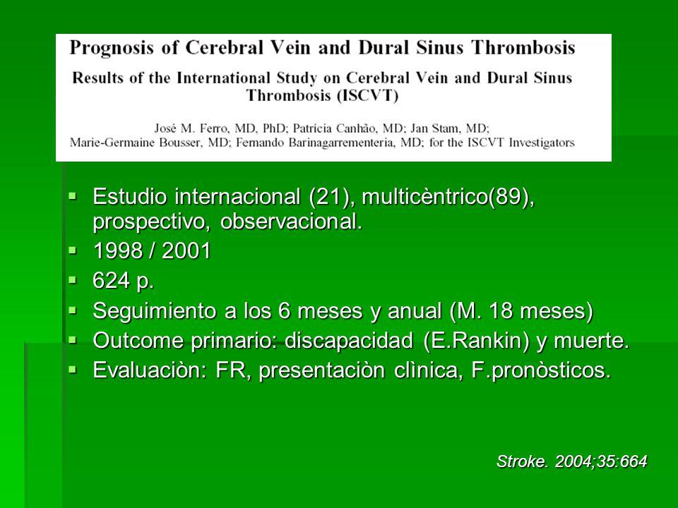 Criterios de inclusiòn Adultos > 15 años con TSV sintomàtica Criterios de inclusiòn Adultos > 15 años con TSV sintomàtica Mediana edad: 37 años Mediana edad: 37 años 74,5 % mujeres 74,5 % mujeres El diagnòstico fue confirmado por RMN o Venografìa(TC/RMN) El diagnòstico fue confirmado por RMN o Venografìa(TC/RMN) A la mayorìa de los pacientes se les realizò una PL, y screening de trombofilias A la mayorìa de los pacientes se les realizò una PL, y screening de trombofilias
