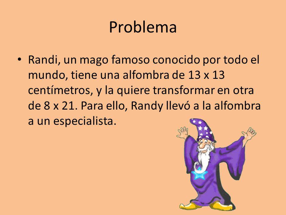 Problema Randi, un mago famoso conocido por todo el mundo, tiene una alfombra de 13 x 13 centímetros, y la quiere transformar en otra de 8 x 21. Para