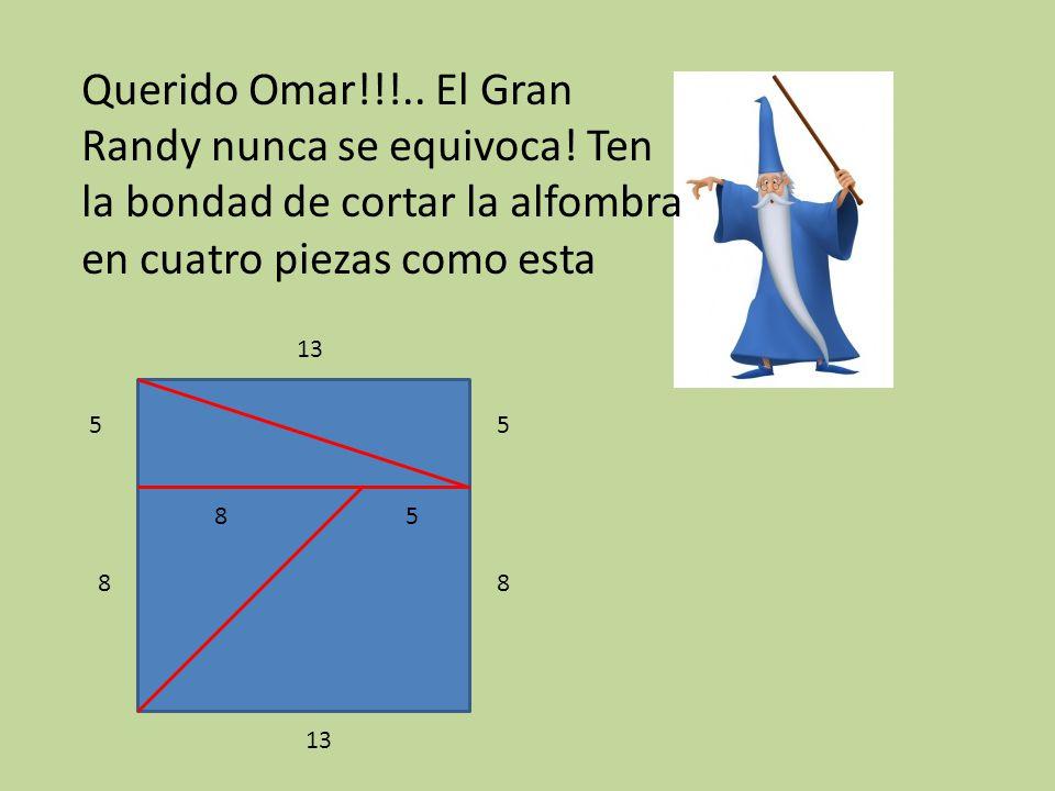 Querido Omar!!!.. El Gran Randy nunca se equivoca! Ten la bondad de cortar la alfombra en cuatro piezas como esta 5 8 13 8 5 58