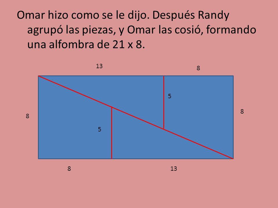 Omar hizo como se le dijo. Después Randy agrupó las piezas, y Omar las cosió, formando una alfombra de 21 x 8. 8 8 5 13 5 8 8