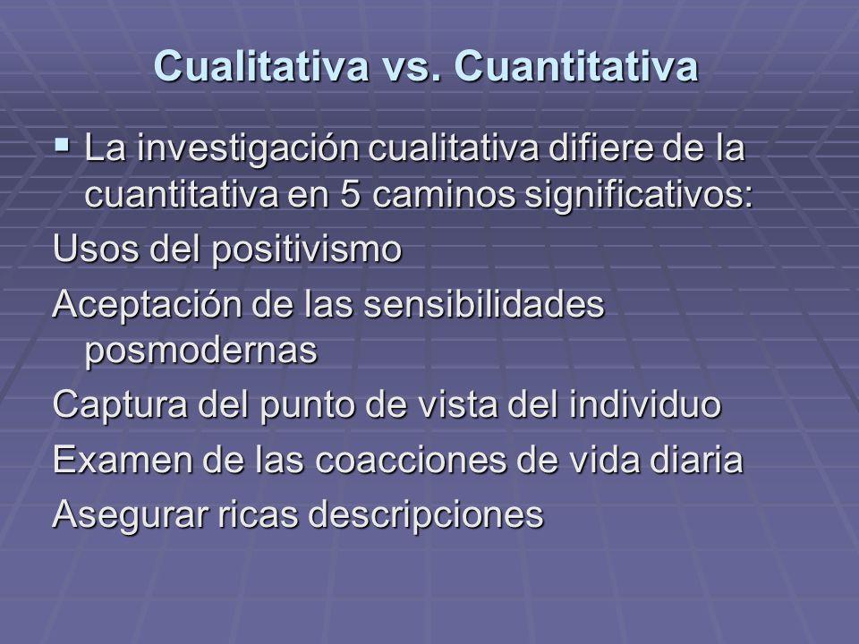 Cualitativa vs. Cuantitativa La investigación cualitativa difiere de la cuantitativa en 5 caminos significativos: La investigación cualitativa difiere