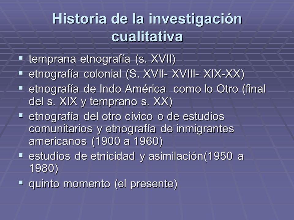 Historia de la investigación cualitativa temprana etnografía (s. XVII) temprana etnografía (s. XVII) etnografía colonial (S. XVII- XVIII- XIX-XX) etno