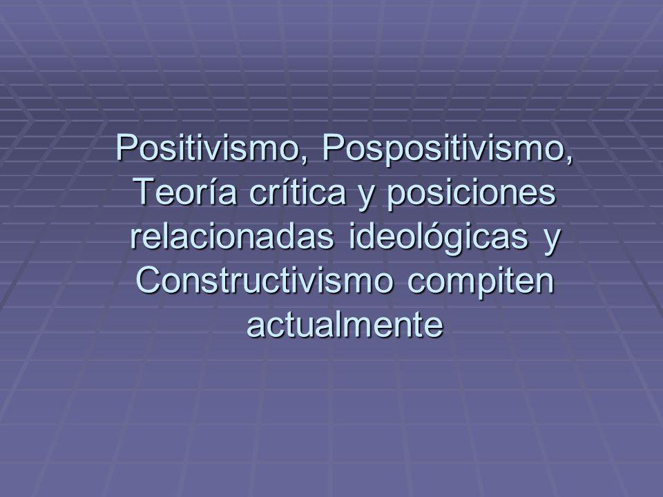 Positivismo, Pospositivismo, Teoría crítica y posiciones relacionadas ideológicas y Constructivismo compiten actualmente