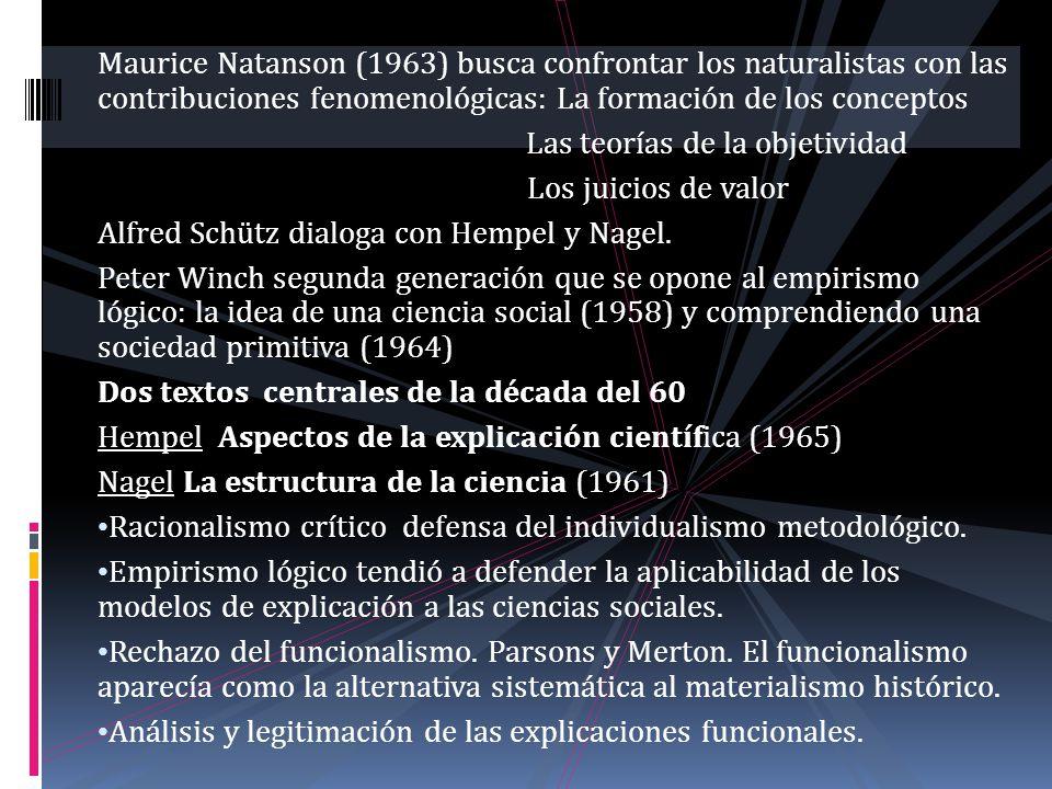 Maurice Natanson (1963) busca confrontar los naturalistas con las contribuciones fenomenológicas: La formación de los conceptos Las teorías de la obje