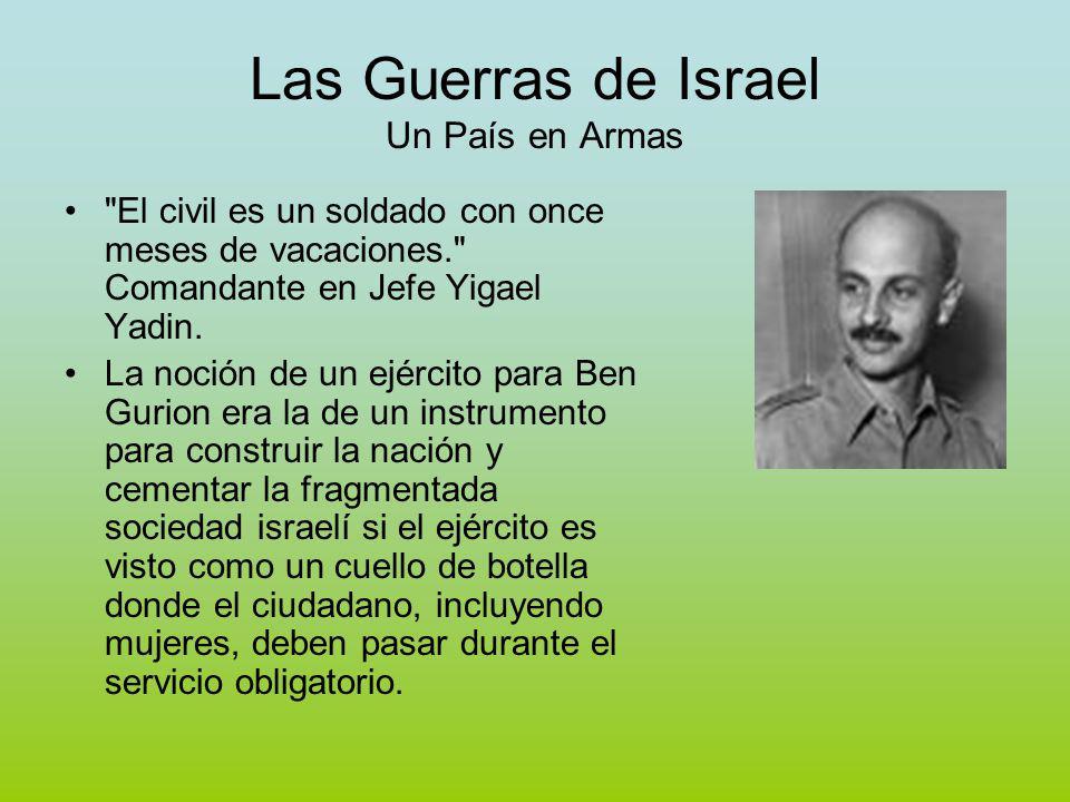 Las Guerras de Israel Construcción del ejército En el intento de crear un sistema militar basado enteramente en la sociedad, Ben Gurion optó por el modelo suizo.