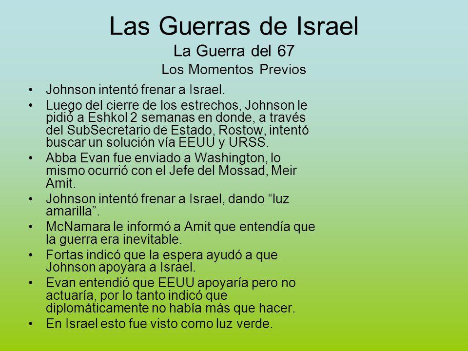 Las Guerras de Israel La Guerra del 67 Los Momentos Previos Johnson intentó frenar a Israel.